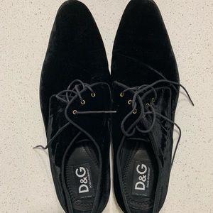 Dolce & Gabbana Velvet Tuxedo Shoes Size 45